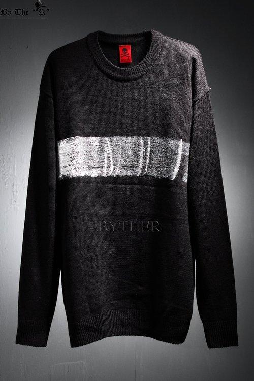 ByTheR Custom 가로 페인팅 루즈핏 니트 티셔츠