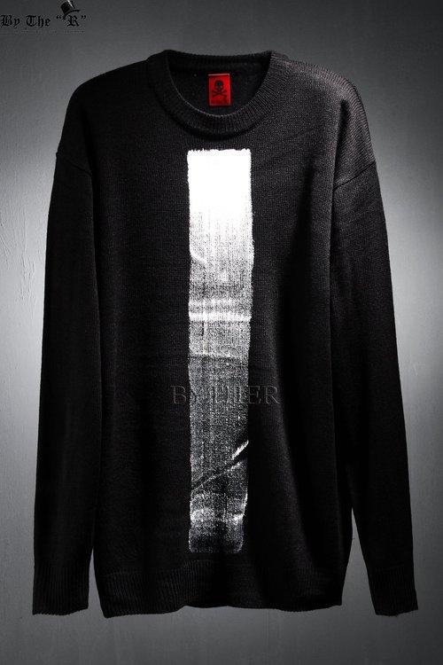ByTheR Custom 센터 버티컬 페인팅 루즈핏 니트 티셔츠